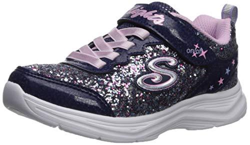 Skechers Girls' Glimmer Kicks N' Glow Trainers, Blue Navy & Multi Rock Glitter/Lavender & Lt Pink Trim...