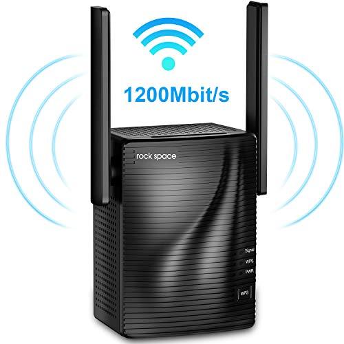 rock space WLAN Verstärker - 1200 Mbit/s WLAN Repeater 867Mbps/5GHz 300Mbps/2,4GHz, WiFi Extender mit Gigabit Ethernet-Port, WPS, AP Modus, LED Abschaltbar, Kompatibel zu Allen WLAN Geräten