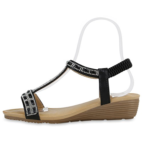 Bequeme Damen Sandaletten Keilabsatz Strass Spitze Wedges Schuhe Schwarz Verzierung