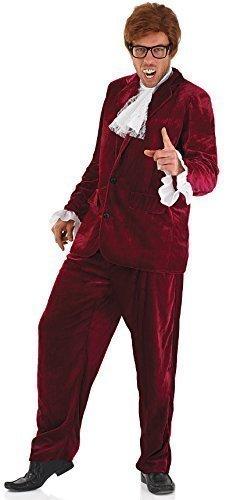 re Austin Powers Spion Gigolo 60s Jahre Anzug Film Kostüm Kleid Outfit - Rot, X-Large (Spion-anzug)