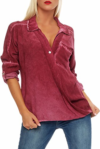 Malito Damen Bluse im Washed Look   Tunika mit u00be Armen   Longsleeve in Unifarben   Elegant - Oversize - Shirt 7285 (Bordeaux)