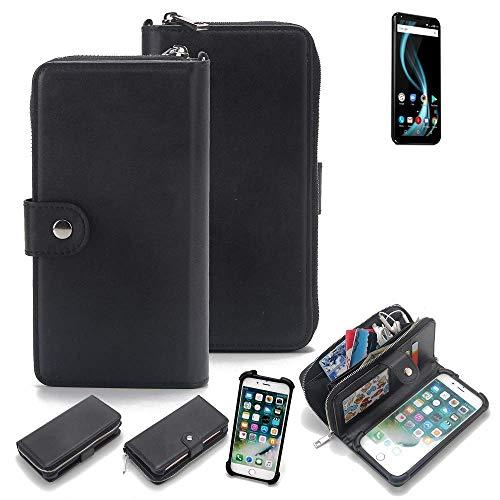 K-S-Trade 2in1 Handyhülle für Allview X4 Soul Infinity Plus Schutzhülle & Portemonnee Schutzhülle Tasche Handytasche Case Etui Geldbörse Wallet Bookstyle Hülle schwarz (1x)