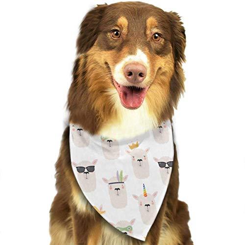 Girl Gesicht Kostüm Zwei - Wfispiy Niedliches Lama Gesicht Muster Weiche Baumwolle Klassische Tiere Bandana Haustier Hund Katze Dreieck Lätzchen