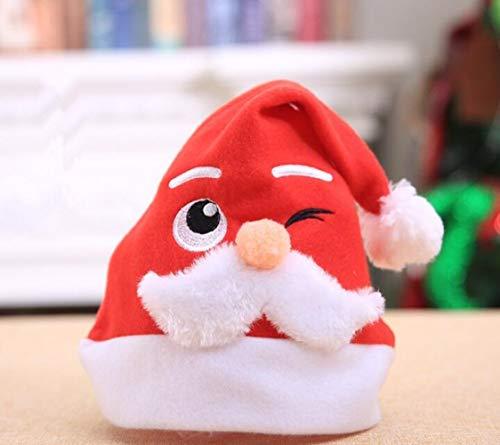 DDPP Erwachsenenweihnachtsfut Maschine Bestickt Weißen Bart Santa Claus Cartoon Hut Weihnachten Dekoration,1