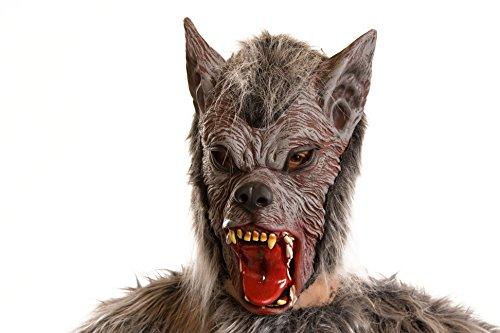 Werwolfmaske mit Plüsch in schwarz - (Braun Werwolf Maske Für Erwachsene)