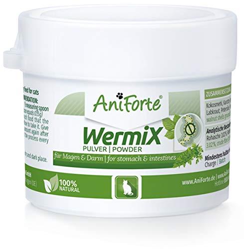 AniForte WermiX Pulver für Katzen 25g - Naturprodukt vor, während und nach Wurmbefall mit Saponine, Bitterstoffe, Gerbstoffe, Wermut, Naturkräuter harmonisieren Magen & Darm