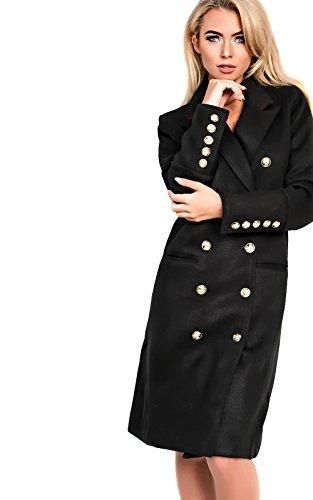 Women's Ladies Glam Long Structured Wool Coat Black