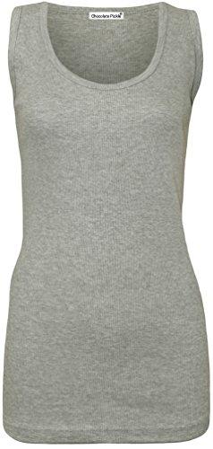 Nouveau Taille Femmes plus néon fluorescent Couleur nervures équipée de gilet de hauts 42-56 Grey
