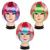 Set 3 Coloridas Pelucas Cortas / Largas para Mujeres por Kurtzy - Fibra Sintética Lisa - Apto para Cosplay y Fiestas de Disfraces - Pelucas Flequillo Frontal Rosa, Verde, Azul y Roja