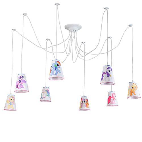 Hängenden Kind 8 Flammig Kronleuchter Design Lampenschirm aus Stoff Dekoriert mit Süßes Pony für Baby Zimmer Mädchen Junge E27*8 [Energy-Klasse A ++] -