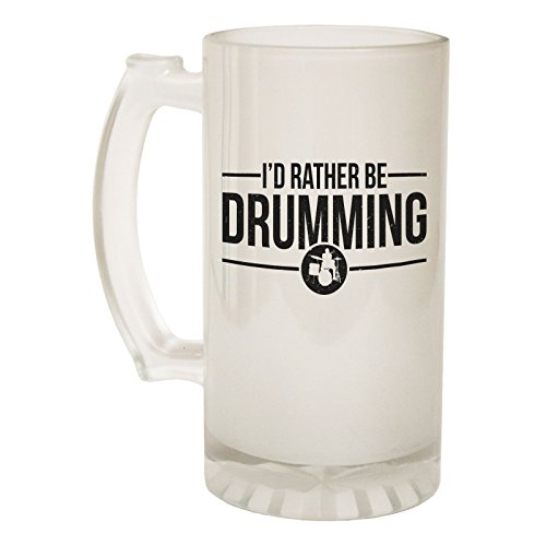 123t Frosted Glass Beer Stein - Rather Be Drumming Drummer - Funny Novelty Birthday
