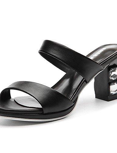 LFNLYX Scarpe Donna-Ciabatte-Ufficio e lavoro / Formale / Casual / Serata e festa-Pantofole-Quadrato-Sintetico-Nero / Bianco Black