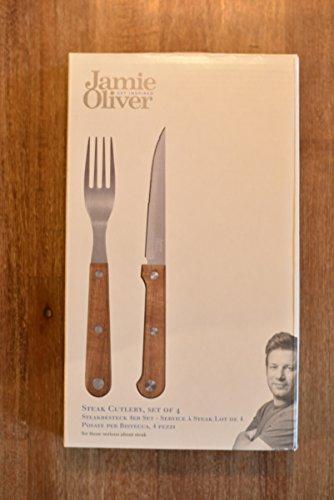 Jamie Oliver 4er Profi Steakbesteck Set Holz | Steakmesser Set aus rostfreiem Edelstahl mit Gabeln als Küchenmesser & Pizzamesser
