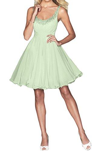 Gorgeous Bride Einfach Knielang A-Linie Chiffon Kristall Ballkleid Brautjungfernkleid Partykleid Sage
