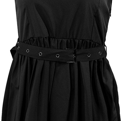 Femmes élégantes Robe De Soirée Mariage Sans Manches Boule Solide Noir