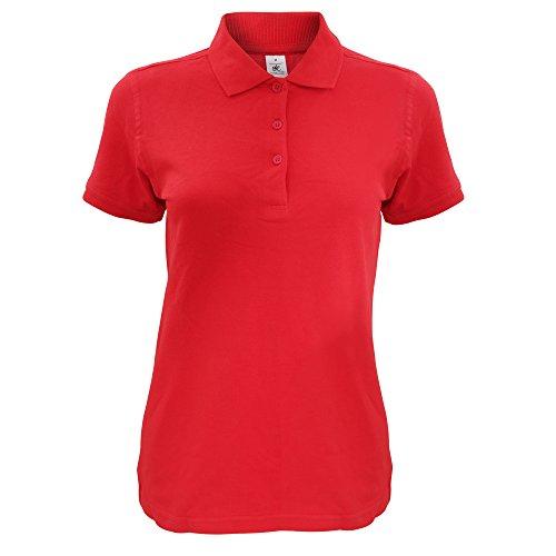 B&C Damen Safran Kurzarm Polo-Shirt Rot