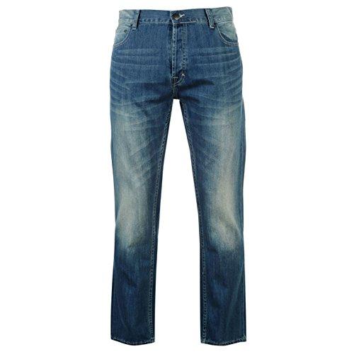 Firetrap Rom Herren Jeans Freizeit Denim Hose Jeanshose Straight Fit Baumwolle Blau 32W S
