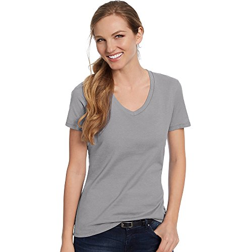 Hanes Women's Nano-T® V-Neck T-Shirt L Grey - Jersey Double V-neck