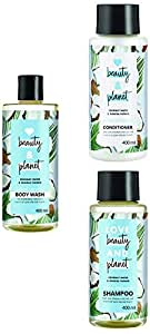 Love Beauty & Planet Coconut Water and Mimosa Flower Aroma Volume and Bounty Shampoo, Conditioner & Radical Refresher Body Wash, (3 * 400 ml)
