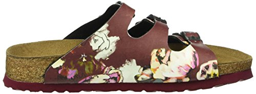 Birkenstock Florida Birko-Flor Softfootbed, Mules Femme Multicolore - Mehrfarbig (Painted Bloom Red)