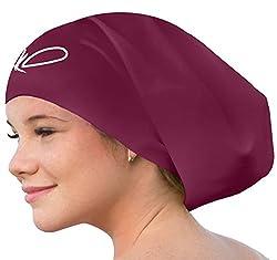 Lahtak Schwimmkappe - Bademütze - Schwimmhaube - extra groß für Damen Herren Lange Haare - für Mädchen Junge (Windsor Wine L)