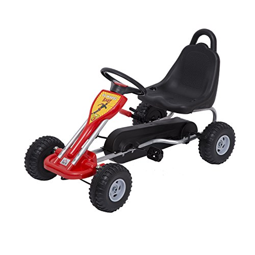 HOMCOM Kids Ride Pedal Go-kart Gokart Go Kart Pedal Outdoor Toy Racing Fun Kart Adjustable Seats with Hand Brake Red Test