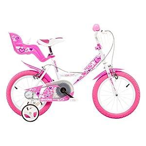 """41v%2BFOnvneL. SS300 Dino Bikes Bambina, Bici Dino 14"""" Bimba Rosa Scuro 4-6 Anni con Rotelle, 3"""