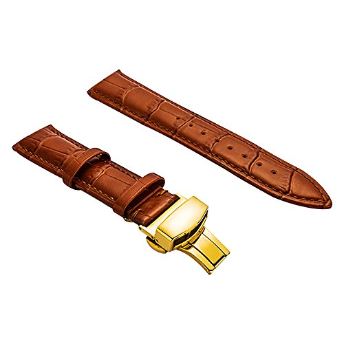BONSTRAP Damen Leder Uhrenarmband 15mm Braun
