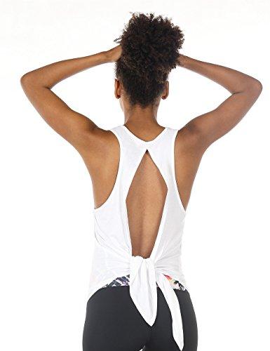 icyzone Damen Sexy Yoga Tops Sport Oberteil Rückenfrei Workout Fitness Shirt Ärmellos (M, White) (Tank-top Ärmelloses Weißes Shirt)