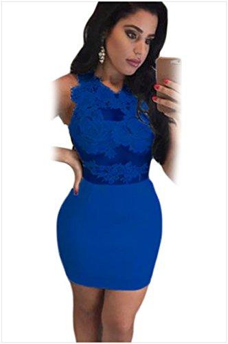 meinice applique in pizzo Bodycon Mini vestito Blue Small