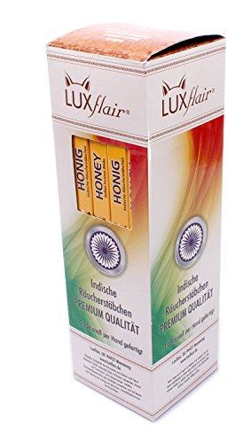 Luxflair Premium Räucherstäbchen Honig, XXL Set mit 25 Packungen á 8 Räucherstäbchen (200 Stück), lange Brenndauer von je ca. 45min