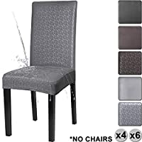 YISUN Dining Chair Covers, Waterproof PU Leather Stretch Removable Washable Dining Chair Protector Cover (Grey/Floral Pattern, 6 PCS/Packet)