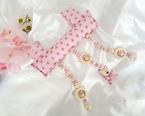 Baby Mobile Clip für den Tragegriff der Babyschale oder Wippe (Rosa, Beige, Taupe, Teddy)