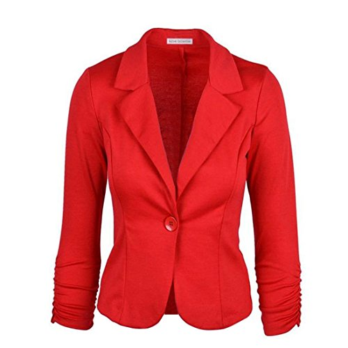 Vertvie Femme Veste Costume de Loisir Casual Single-Breasted Haut de Tailleur Slim Blazer Bouton Rouge
