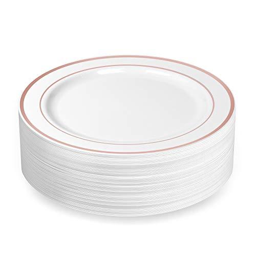 BloominGoods Einweg-Geschirr aus Kunststoff in Weiß mit Roségold verziert, strapazierfähig, Einweggeschirr mit echtem China Design 10.25