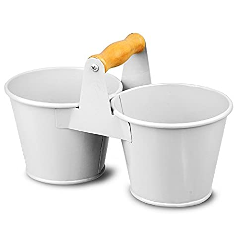 Double Bucket Condiment Caddy - White Galvanised Steel Cutlery Table Tidy and Utensil Organiser