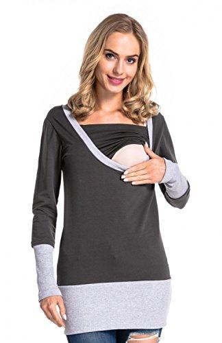 Happy Mama. Damen Sweatshirt Stillzeit Top Zweilagiges. Kontrastdetails. 457p (Graphit, EU 38, L)