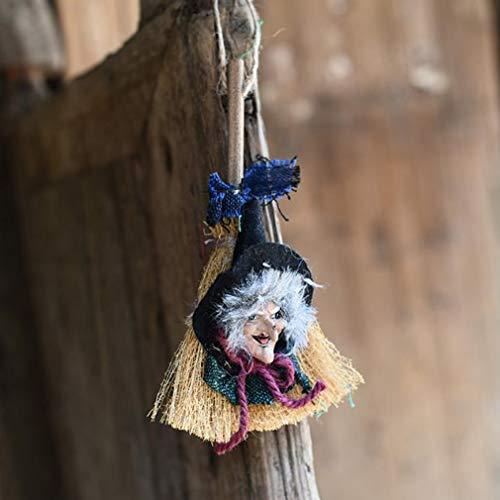 HYhy Halloween Hanging Broomstick Hexe Anhänger Dekoration Requisiten Scary Broom Ghost Dekoration Spielzeug Horror, W016 grün