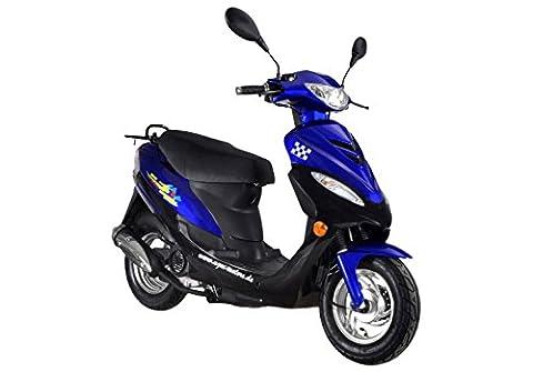 Roller GMX 450 SPORT Mofa 25 km/h blau 2,4 KW / 3,3 PS / Luftgekühlt / Alufelgen / Gepäckträger / Scheibenbremse / Teleskopgabel Hydraulisch / ab 15 Jahren