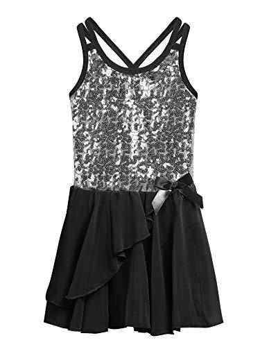 Mädchen Kleid Ballettkleid Kinder Ballett Trikot Ballettanzug mit Tütü Röckchen Pailletten Kleid Shiny Sparkle Fairy Party Fancy Costume, 130, Schwarz (Mädchen Kleider Fairy)