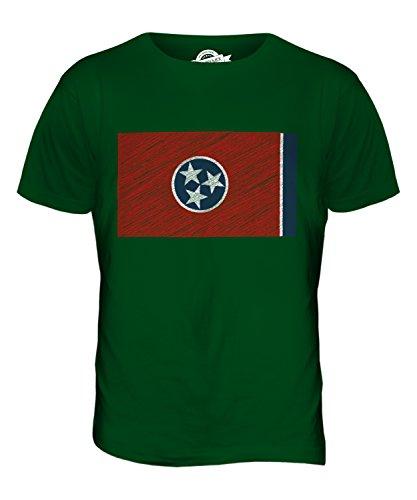 CandyMix Bundesstaat Tennessee Kritzelte Flagge Herren T Shirt Flaschengrün