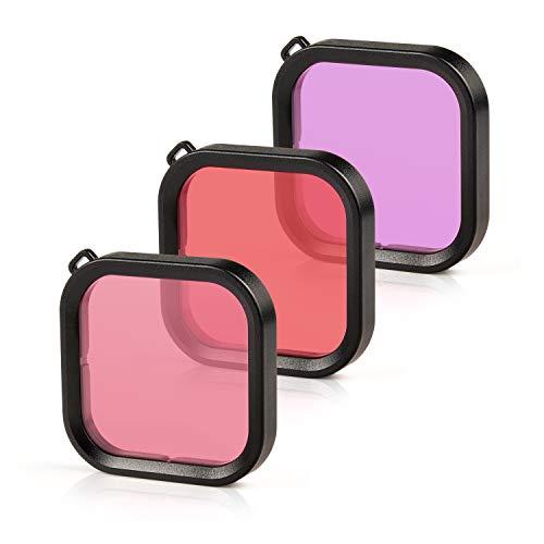 Rhodesy Tauchfilter für GoPro Hero 8 Rot/Pink/Lila Linsenfilter Tauchen unter Wasser Farbe Verbessern Kompatibel mit dem Wasserdichten Gehäuse der GoPro Hero 8 Black