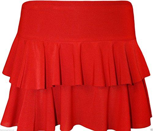 NOUVEAU FEMMES MINI JUPE EN RARA NEON & AUTRE PARTIE COULEURS CLUB porter Taille 36-42 Rouge