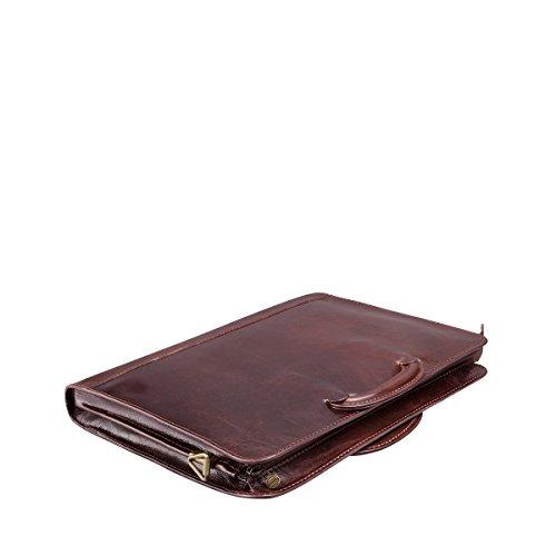 Maxwell Scott Bags® PERSONNALISABLE! Porte-documents Mince en Cuir Marron Foncé (Barolo) Marron Foncé