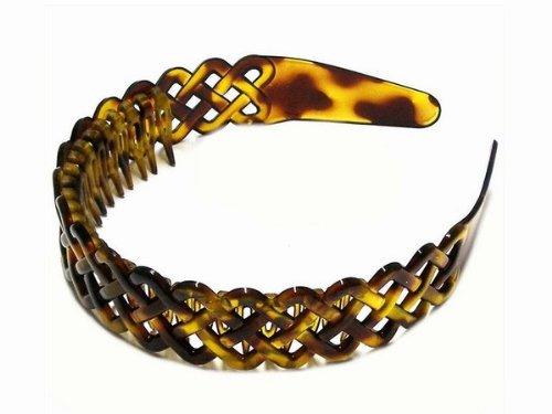 Serre-tête effet écailles de tortue avec peigne intégré Marron Joli motif tressé Accessoire pour cheveux