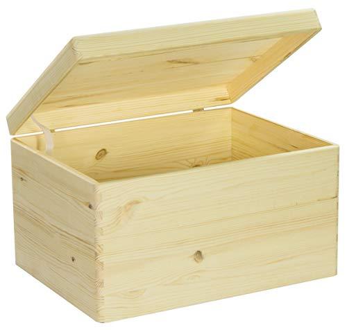LAUBLUST Holzkiste zur Aufbewahrung in Größe XL - Kiefer Unbehandelt ca. 40 x 30 x 24 cm - Kiste mit Runden Kanten und Deckel aus Vollholz