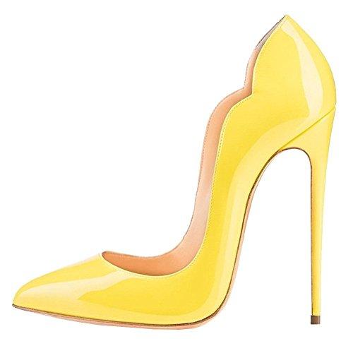 Cuckoo Damen High Heel Slip auf spitzen Toe Party Hochzeitskleid Stiletto Schuhe Gelb Patent