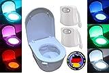 2x LED Toiletten Nachtlicht 8 Farben Bewegungsmelder Motion Senor Badbeleuchtung