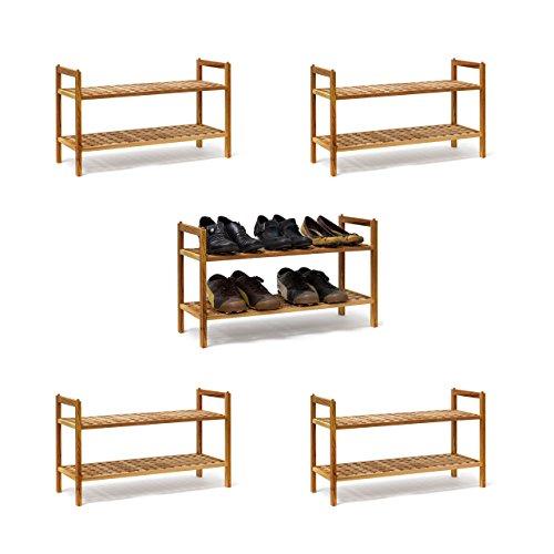 5 x Schuhregal Walnuss im Set, Schuhaufbewahrung stapelbar, Schuhablage mit je 2 Etagen, offen, je 6 Paar Schuhe, natur