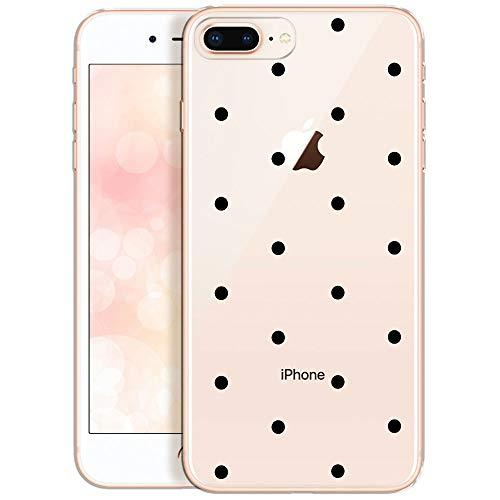 OOH!COLOR® Design Case für iPhone 7 Plus mit Motiv MPA148 schwarz Punkte modisch stilvoll Silikon Hülle elastisch Schutzhülle Transparent Case Luxus Cover Slim Etui